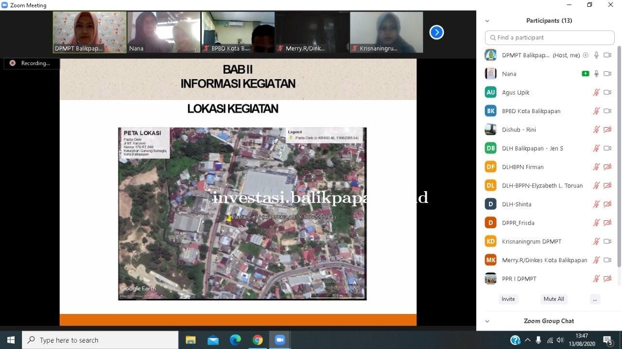 Zoom Meeting Rapat pembahasan dokumen UKL UPL Kegiatan Restoran