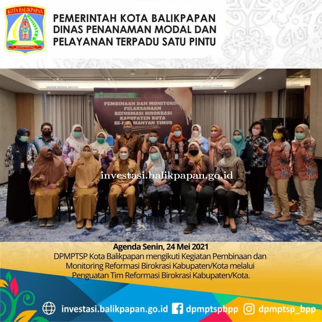 DPMPTSP Kota Balikpapan mengikuti Kegiatan Pembinaan & Monitoring Reformasi Birokrasi Kabupaten/Kota